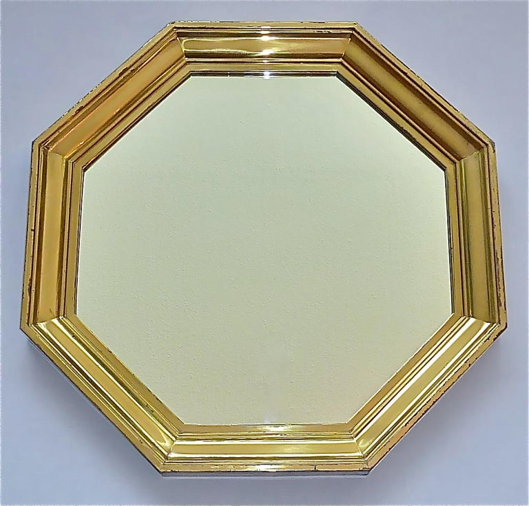 Hollywood Regency Large Maison Jansen Octagonal Patinated Brass Mirror Crespi Rizzo Style, 1970s For Sale