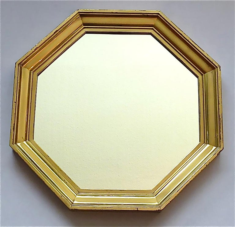 French Large Maison Jansen Octagonal Patinated Brass Mirror Crespi Rizzo Style, 1970s For Sale