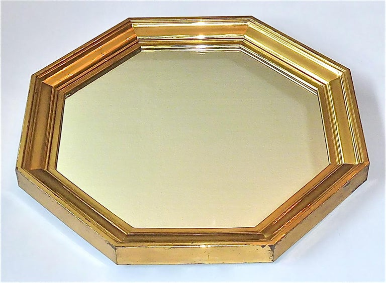 Large Maison Jansen Octagonal Patinated Brass Mirror Crespi Rizzo Style, 1970s For Sale 1