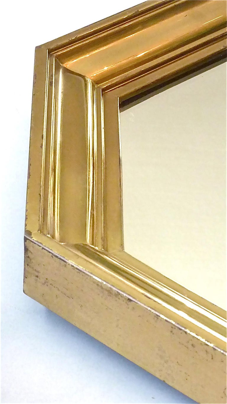Large Maison Jansen Octagonal Patinated Brass Mirror Crespi Rizzo Style, 1970s For Sale 2