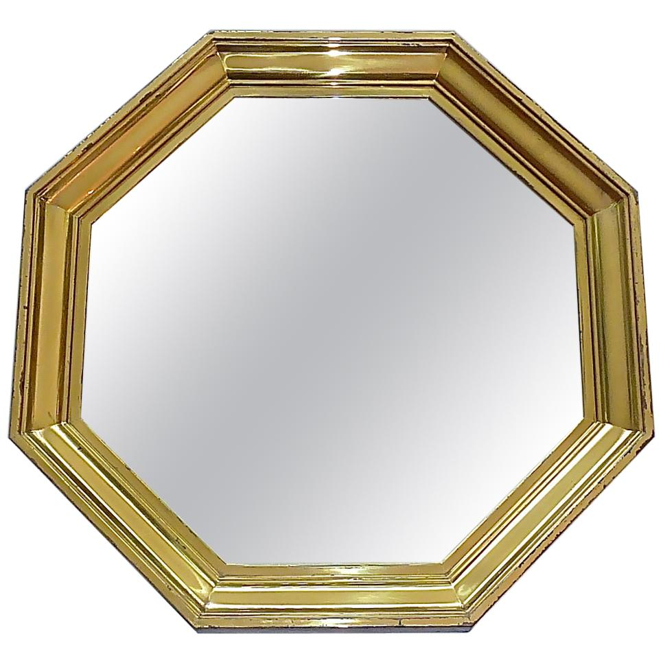 Large Maison Jansen Octagonal Patinated Brass Mirror Crespi Rizzo Style, 1970s