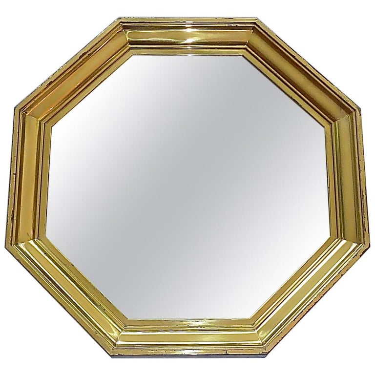 Large Maison Jansen Octagonal Patinated Brass Mirror Crespi Rizzo Style, 1970s For Sale