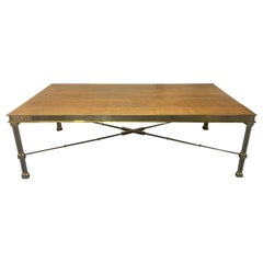 Large Maison Jansen Style Brass and Steel Dining Table