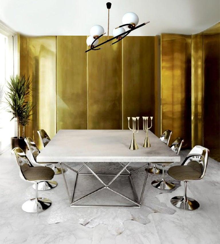 Large  Maison Lunel Brass Chandelier  Pendant Light, Stilnovo Gio Ponti Era For Sale 4