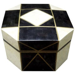 Large Maitland Smith Style Tessellated Stone, Horn and Brass Box