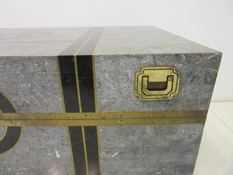 20th Century Large Maitland Smith Tessellated Coffee Table Chest For Sale