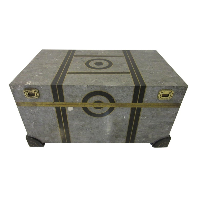 Large Maitland Smith Tessellated Coffee Table Chest For Sale