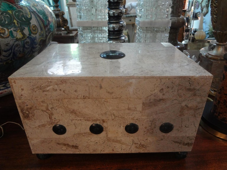 Beautifully crafted Maitland Smith tessellated stone box. This gorgeous hinged and lidded felt lined tessellated marble or stone box could be used as a jewelry box or decorative coffee table box. This vintage box is in the Art Deco style.