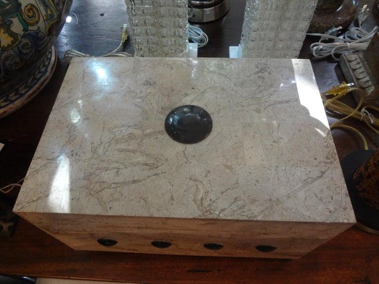 Hollywood Regency Large Maitland Smith Tessellated Stone Box