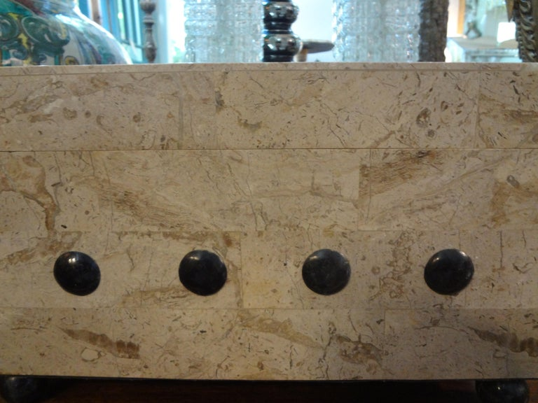 Large Maitland Smith Tessellated Stone Box In Good Condition In Houston, TX