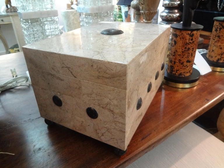 Late 20th Century Large Maitland Smith Tessellated Stone Box