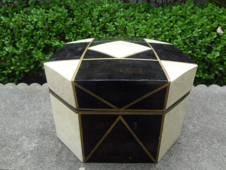 Hollywood Regency Large Maitland Smith Style Tessellated Stone, Horn and Brass Box For Sale