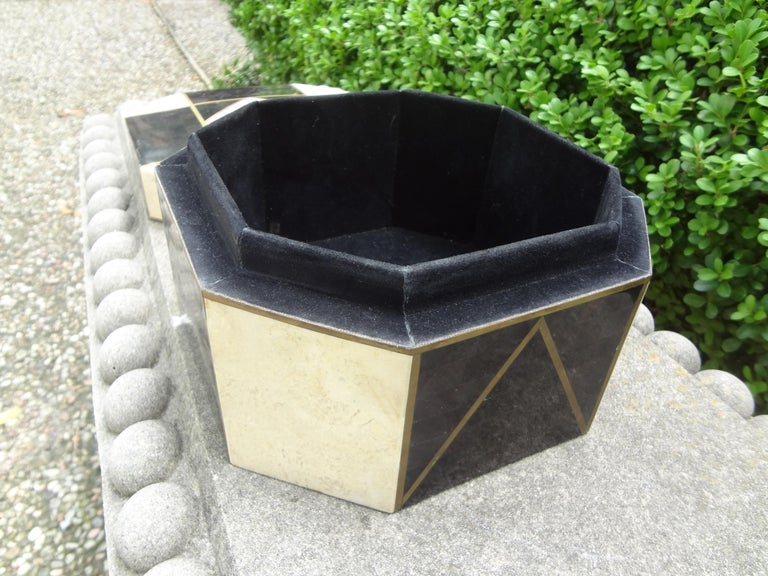 Large Maitland Smith Style Tessellated Stone, Horn and Brass Box For Sale 1