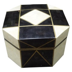 Large Maitland Smith Tessellated Stone, Horn and Brass Box