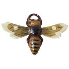 Large Majolica Bee Wall Pocket Sarreguemines, circa 1920