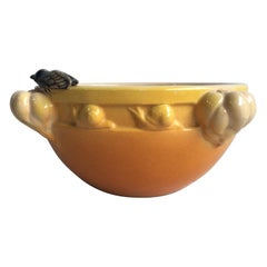 Large Majolica Jardiniere with Cicada and Snails, circa 1950