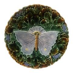 Large Majolica Gray Butterfly Platter Josef Steidl Znaim, circa 1890