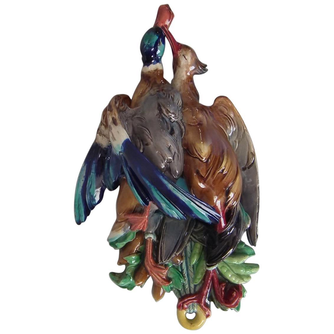 Large Majolica Hanging Game Birds Wall Pocket