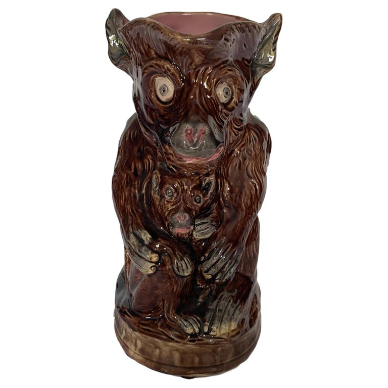 Large Majolica Monkey and Baby Pitcher, English, ca. 1880. For Sale