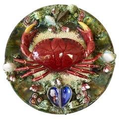 Large Majolica Palissy Portuguese Crab Wall Platter, circa 1940