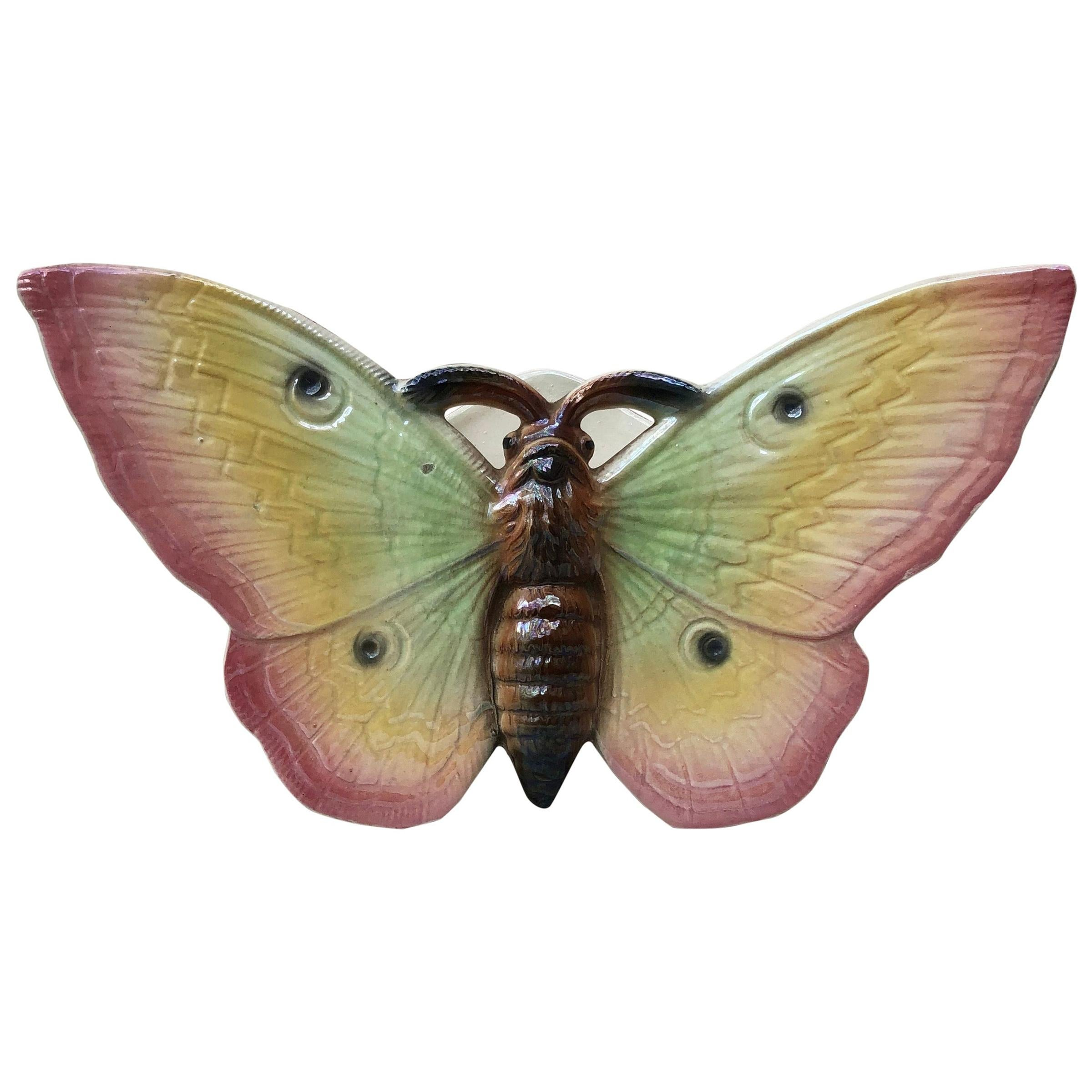 Large Majolica Pink Butterfly Wall Pocket Fives Lille, circa 1900
