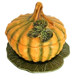 Large Majolica Pottery Ceramic Pumpkin Tureen Box Tray Platter, Cover and Ladle