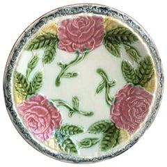 Large Majolica Roses Plate Salins, circa 1900