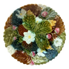 Large Majolica Strawberry Orchies Platter, circa 1880