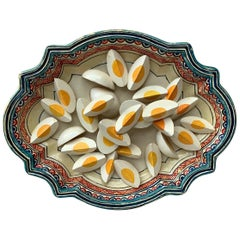 Large French Majolica Faience Trompe L'oeil Eggs Platter, circa 1930