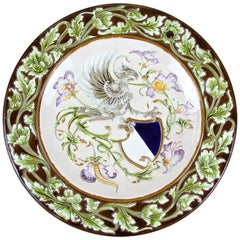 Large Majolica Wall Plate by Wilhelm Schiller & Son, Bohemia, circa 1890