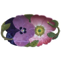 Large Majolica Wild Rose & Pansy Platter Massier, circa 1890