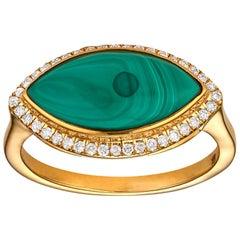 Large Malachite and Diamond Halo Marquise Ring 18 Karat Yellow Gold