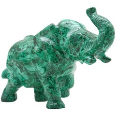 Large Malachite Elephant Carving