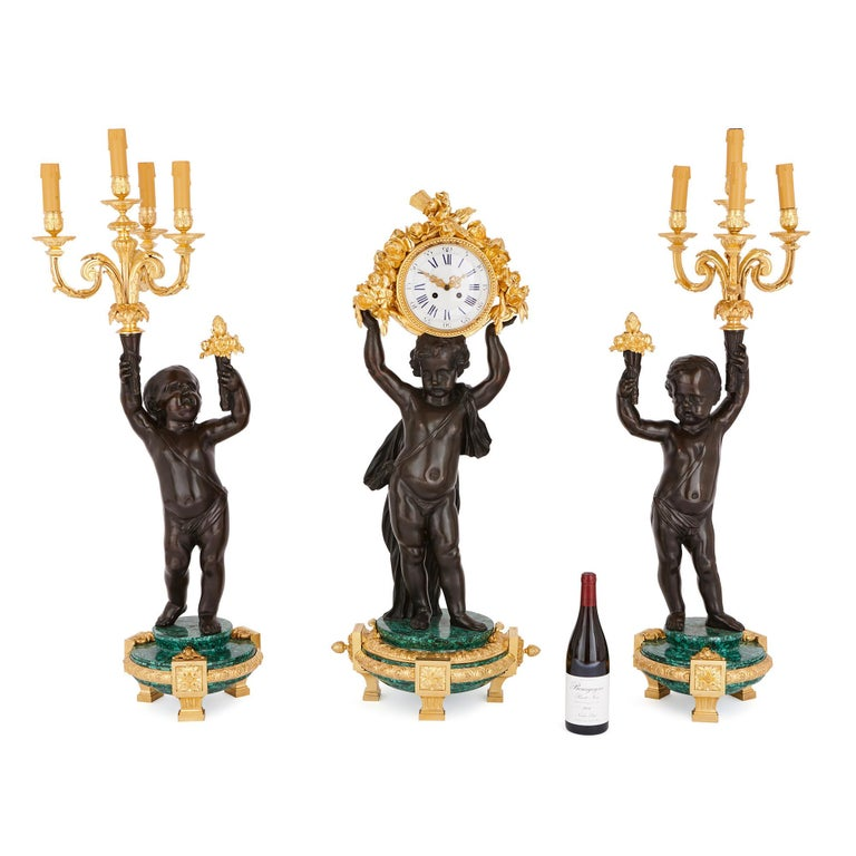 French Large Malachite, Gilt and Patinated Bronze Clock Set For Sale