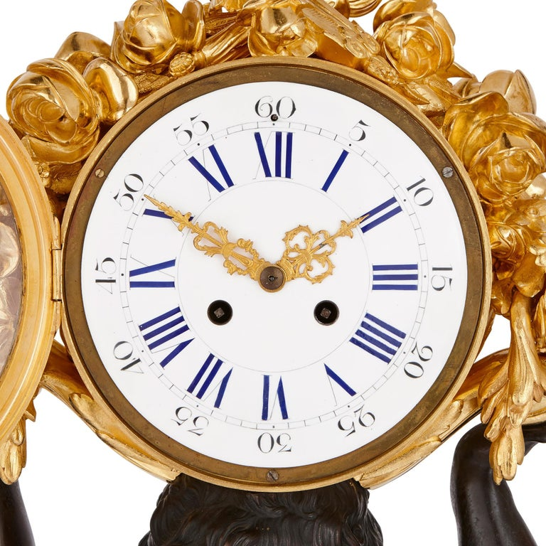Large Malachite, Gilt and Patinated Bronze Clock Set In Excellent Condition For Sale In London, GB