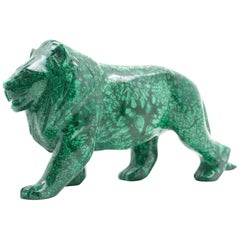 Large Malachite Lion Carving