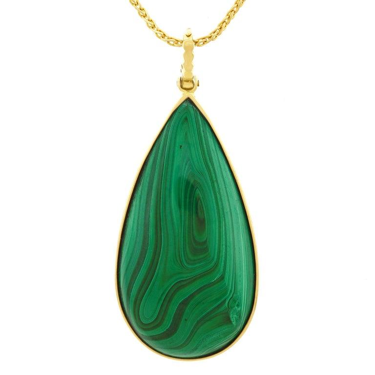 Modernist Large Malachite Set Gold Pendant For Sale