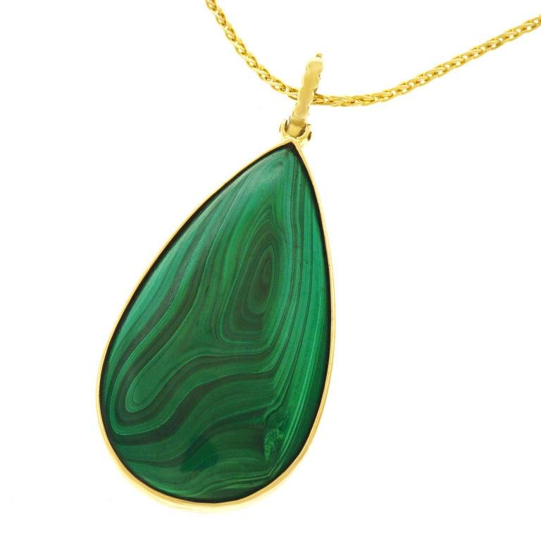 Large Malachite Set Gold Pendant For Sale