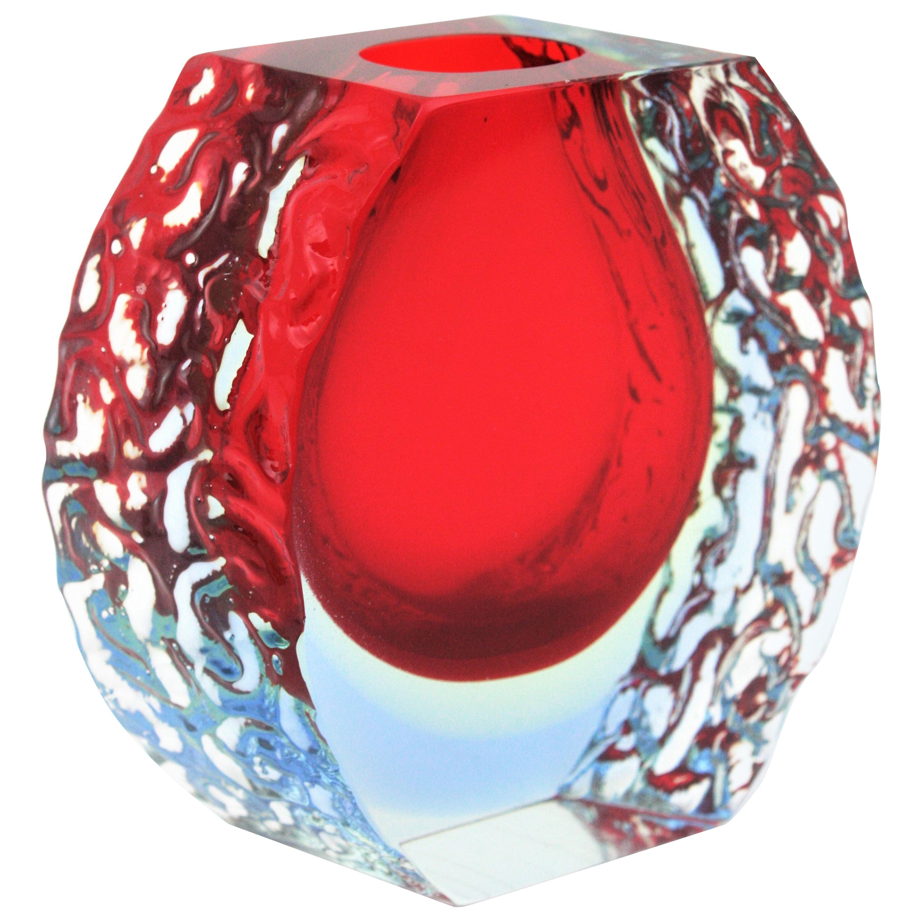 Large Mandruzzato Murano Faceted Textured Red, Blue, Yellow Sommerso Glass Vase