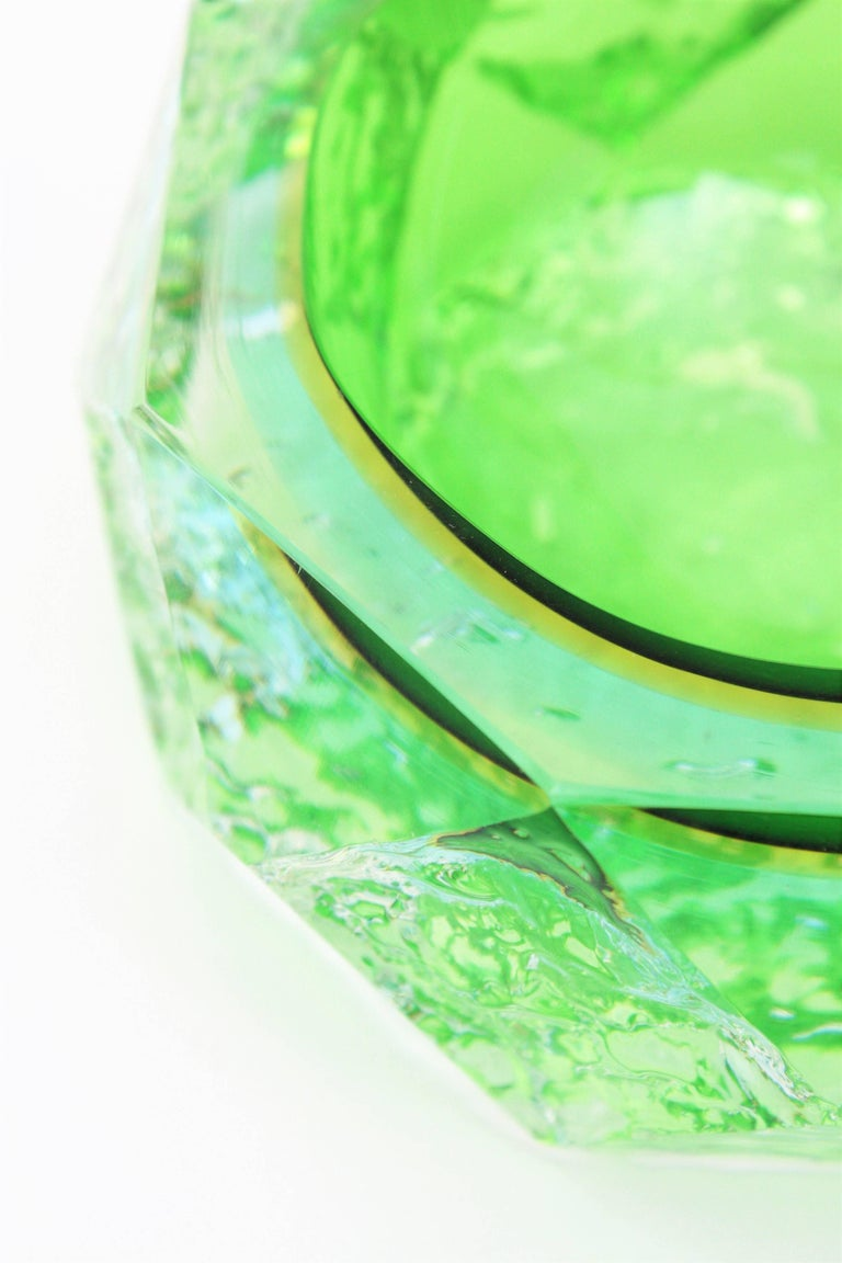 Mid-Century Modern Mandruzzato Murano Ice Glass Faceted Sommerso Green Blue Yellow Art Glass Bowl For Sale