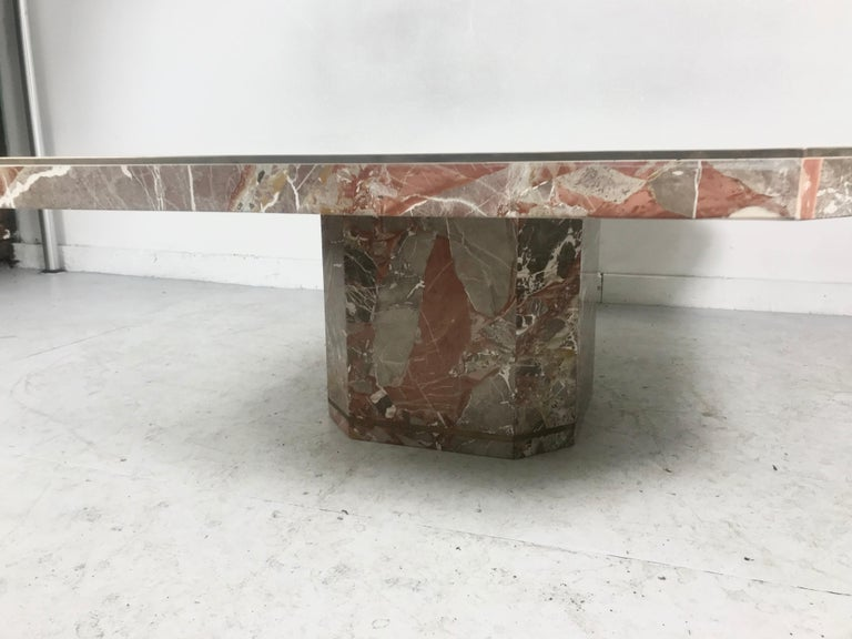 Italian Large Marble and Brass Trimmed Coffee/Cocktail Table by Willy Rizzo, 1970 For Sale