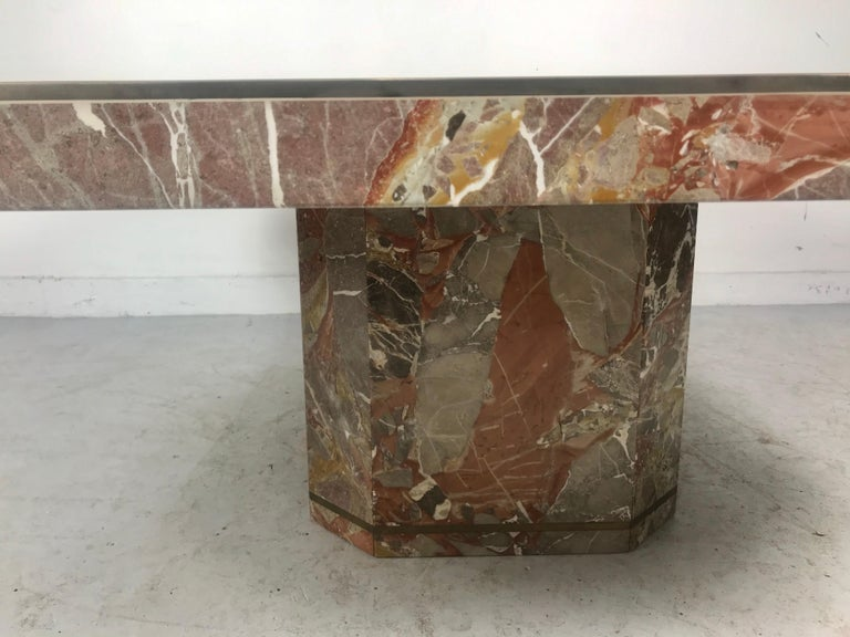 Large Marble and Brass Trimmed Coffee/Cocktail Table by Willy Rizzo, 1970 In Good Condition For Sale In Buffalo, NY