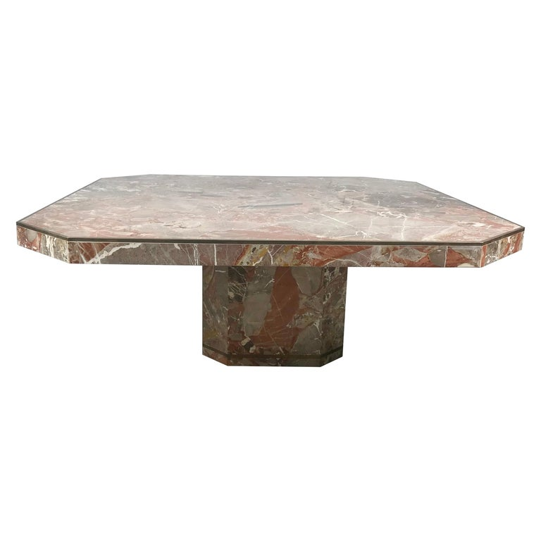 Large Marble and Brass Trimmed Coffee/Cocktail Table by Willy Rizzo, 1970 For Sale