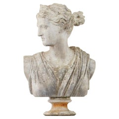 Large Marble Bust of Diana the Huntress