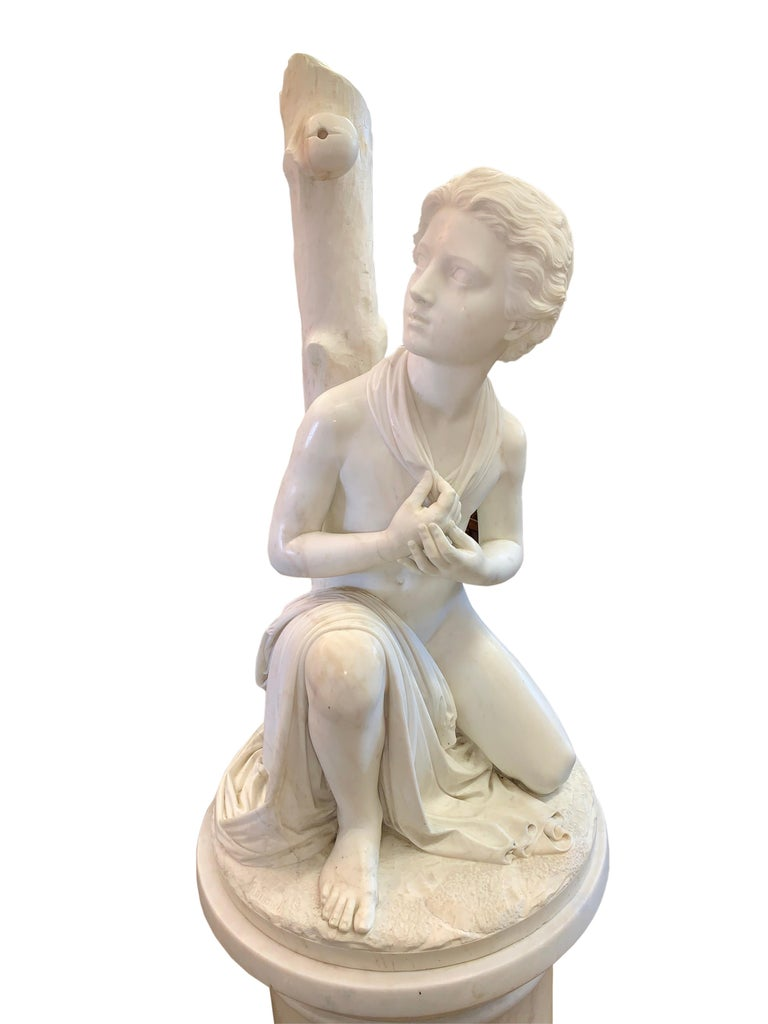 Italian Large Marble Figure by Romanelli, 'The Son of Willaim Tell' For Sale