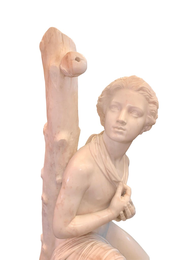 19th Century Large Marble Figure by Romanelli, 'The Son of Willaim Tell' For Sale