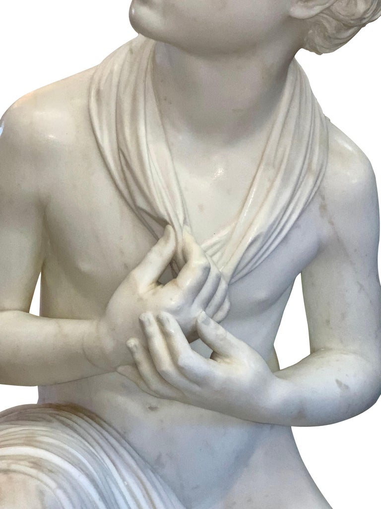 Large Marble Figure by Romanelli, 'The Son of Willaim Tell' For Sale 2
