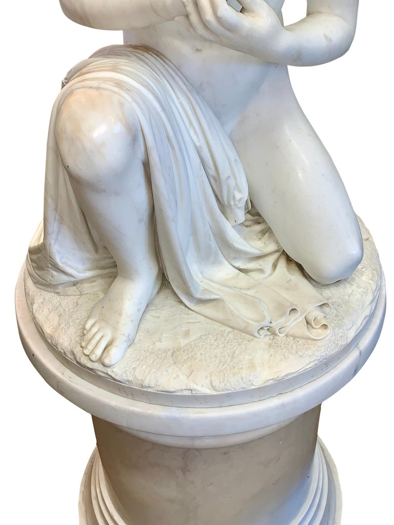 Large Marble Figure by Romanelli, 'The Son of Willaim Tell' For Sale 3