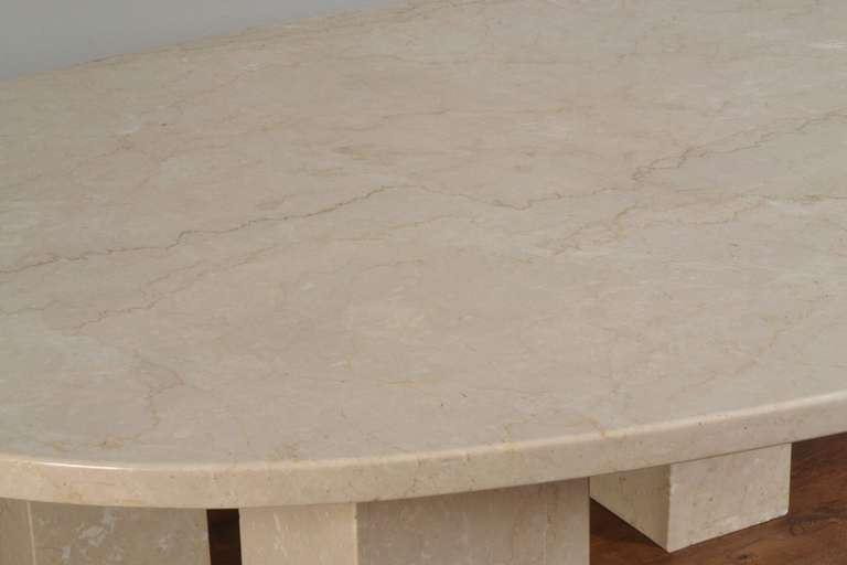 British Large Marble Oval Dining Table For Sale