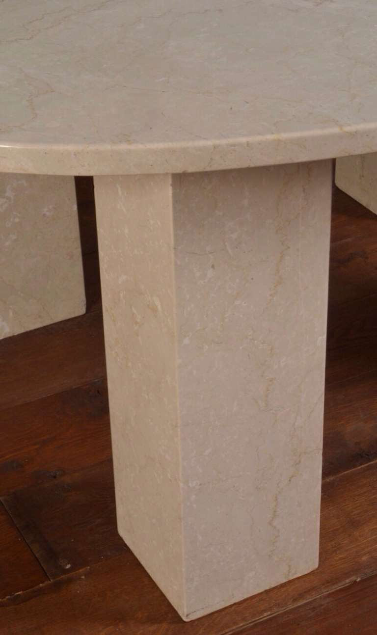 Mid-20th Century Large Marble Oval Dining Table For Sale